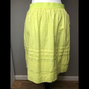 Anthropologie Maeve Yellow Tucked Tiered Skirt